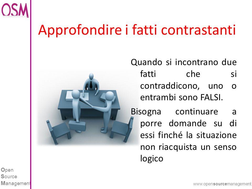 O pen S ource M anagement www.opensourcemanagement.it Approfondire i fatti contrastanti Quando si incontrano due fatti che si contraddicono, uno o entrambi sono FALSI.
