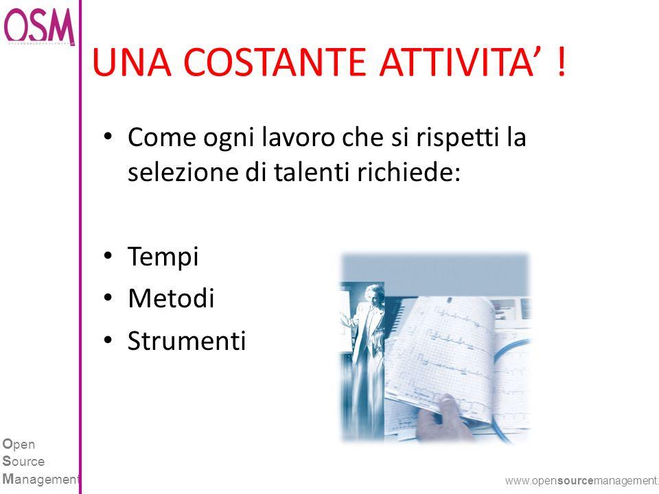 O pen S ource M anagement www.opensourcemanagement.it UNA COSTANTE ATTIVITA ! Come ogni lavoro che si rispetti la selezione di talenti richiede: Tempi