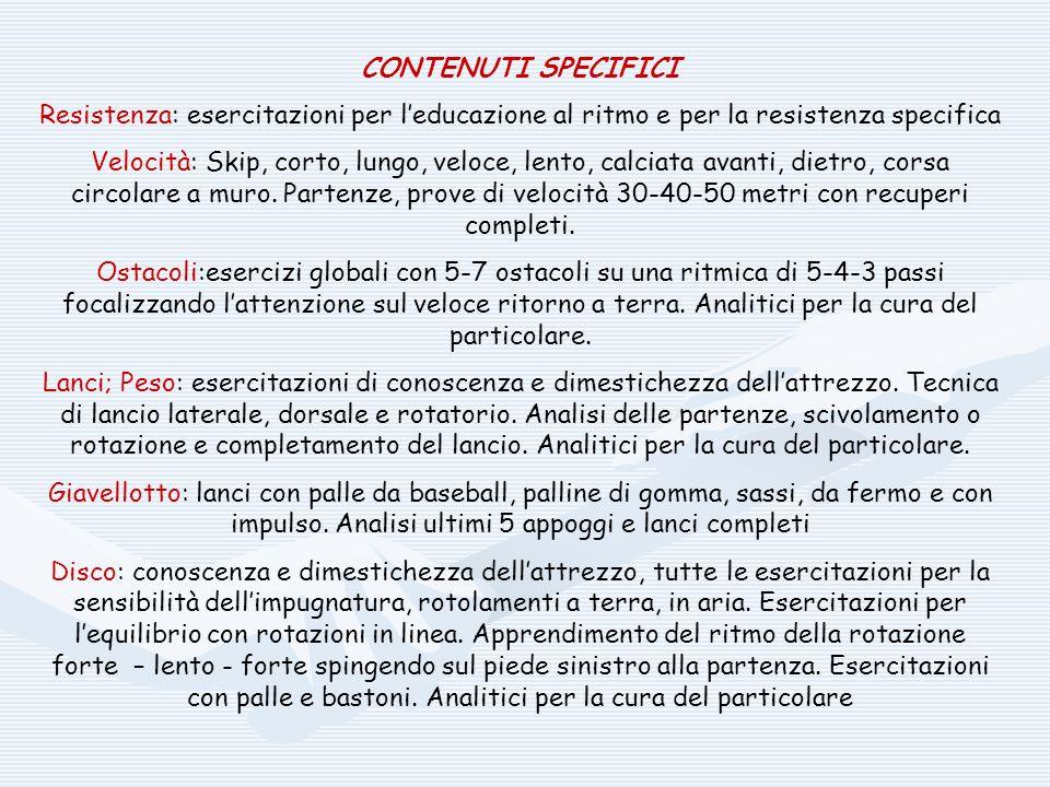 CONTENUTI SPECIFICI Resistenza: esercitazioni per leducazione al ritmo e per la resistenza specifica Velocità: Skip, corto, lungo, veloce, lento, calc