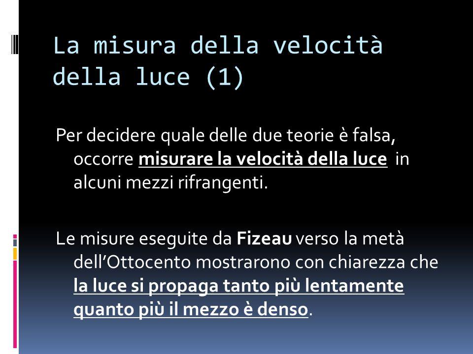 La misura della velocità della luce (1) Per decidere quale delle due teorie è falsa, occorre misurare la velocità della luce in alcuni mezzi rifrangenti.