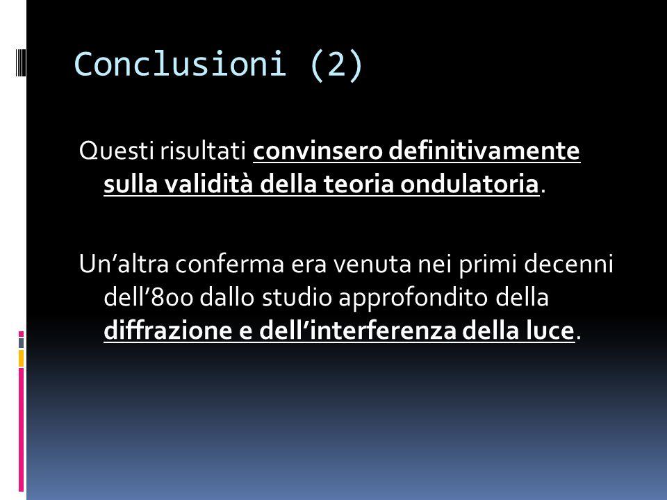 Conclusioni (2) Questi risultati convinsero definitivamente sulla validità della teoria ondulatoria.