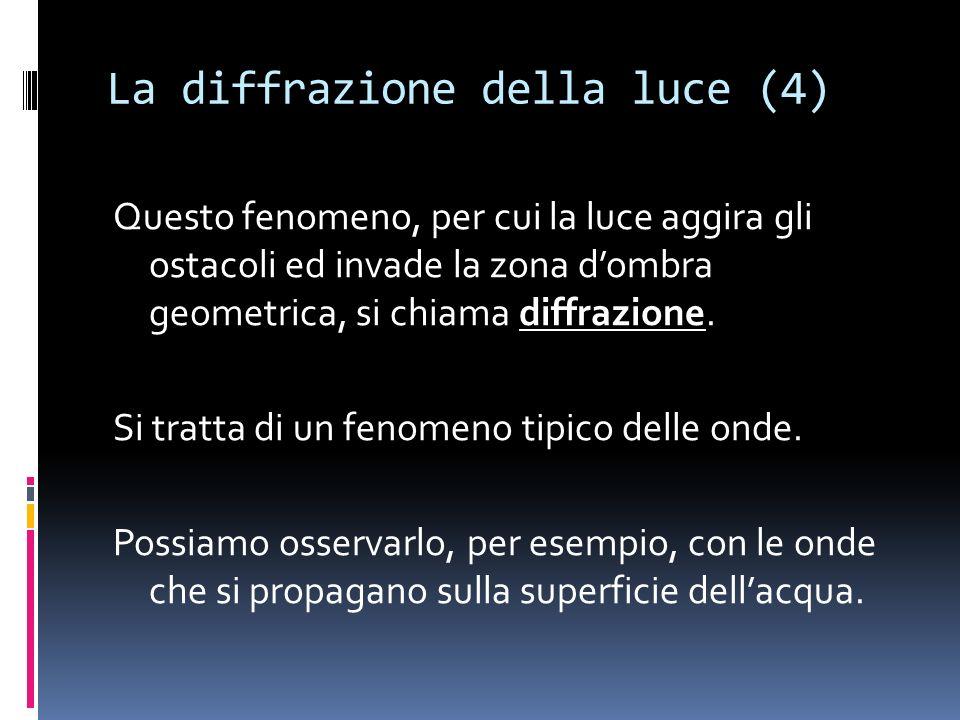 La diffrazione della luce (4) Questo fenomeno, per cui la luce aggira gli ostacoli ed invade la zona dombra geometrica, si chiama diffrazione.