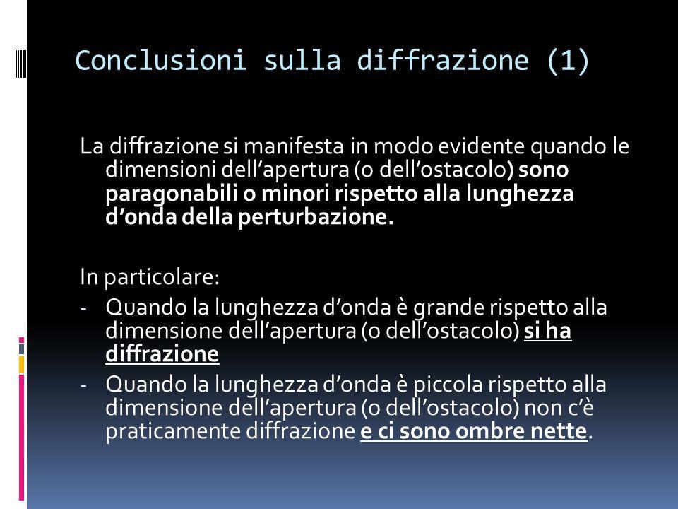 Conclusioni sulla diffrazione (1) La diffrazione si manifesta in modo evidente quando le dimensioni dellapertura (o dellostacolo) sono paragonabili o minori rispetto alla lunghezza donda della perturbazione.