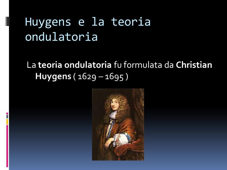 Huygens e la teoria ondulatoria La teoria ondulatoria fu formulata da Christian Huygens ( 1629 – 1695 )