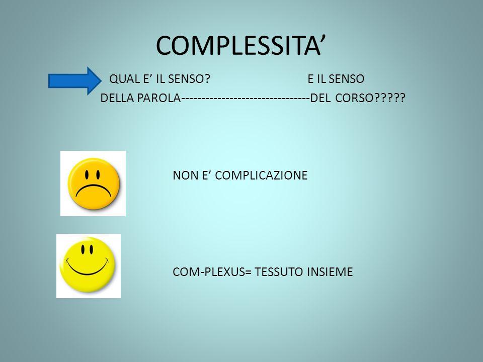 COMPLESSITA QUAL E IL SENSO? E IL SENSO DELLA PAROLA--------------------------------DEL CORSO????? NON E COMPLICAZIONE COM-PLEXUS= TESSUTO INSIEME