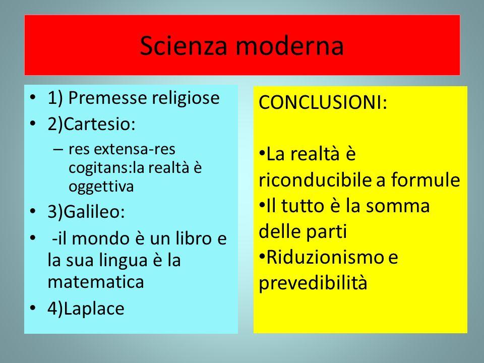 Scienza moderna 1) Premesse religiose 2)Cartesio: – res extensa-res cogitans:la realtà è oggettiva 3)Galileo: -il mondo è un libro e la sua lingua è l