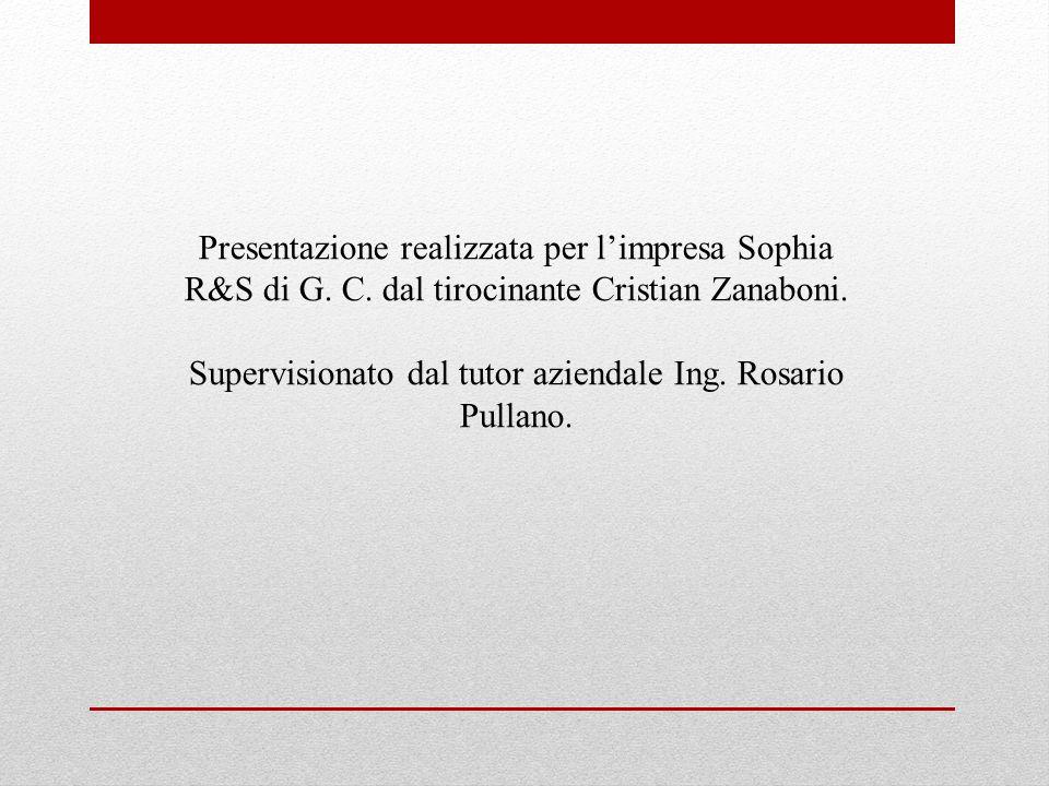 Presentazione realizzata per limpresa Sophia R&S di G. C. dal tirocinante Cristian Zanaboni. Supervisionato dal tutor aziendale Ing. Rosario Pullano.