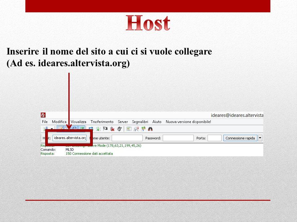 Inserire il nome del sito a cui ci si vuole collegare (Ad es. ideares.altervista.org)