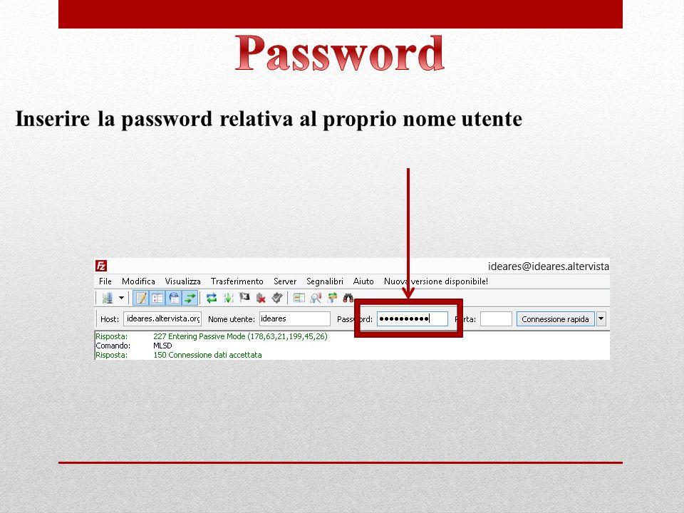 Inserire la password relativa al proprio nome utente