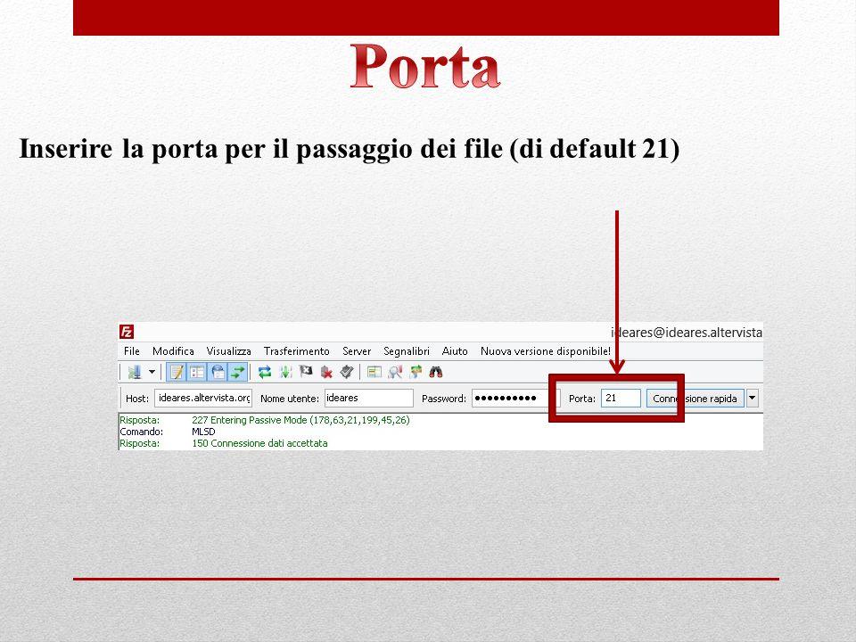 Inserire la porta per il passaggio dei file (di default 21)