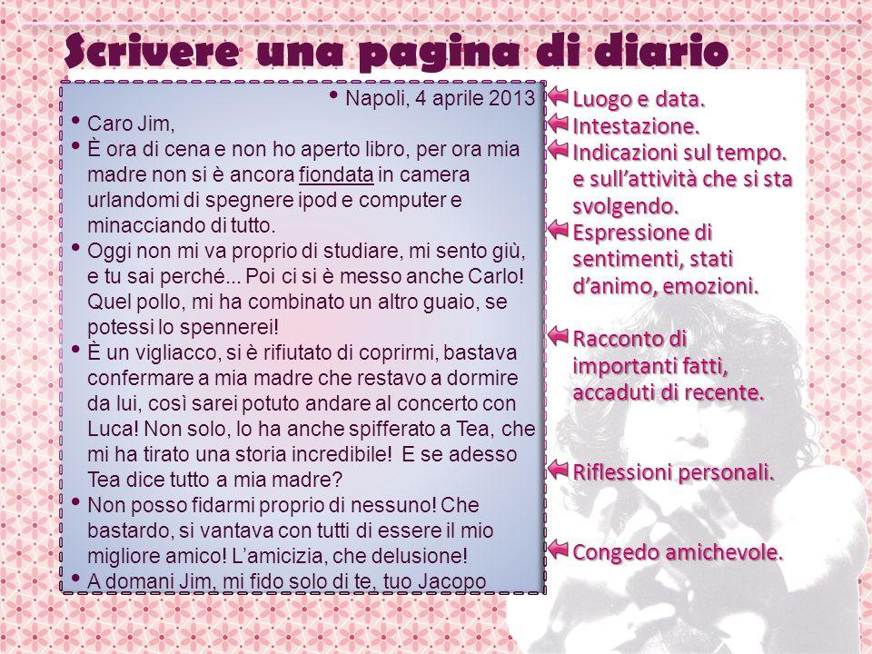 Scrivere una pagina di diario Napoli, 4 aprile 2013 Caro Jim, È ora di cena e non ho aperto libro, per ora mia madre non si è ancora fiondata in camer