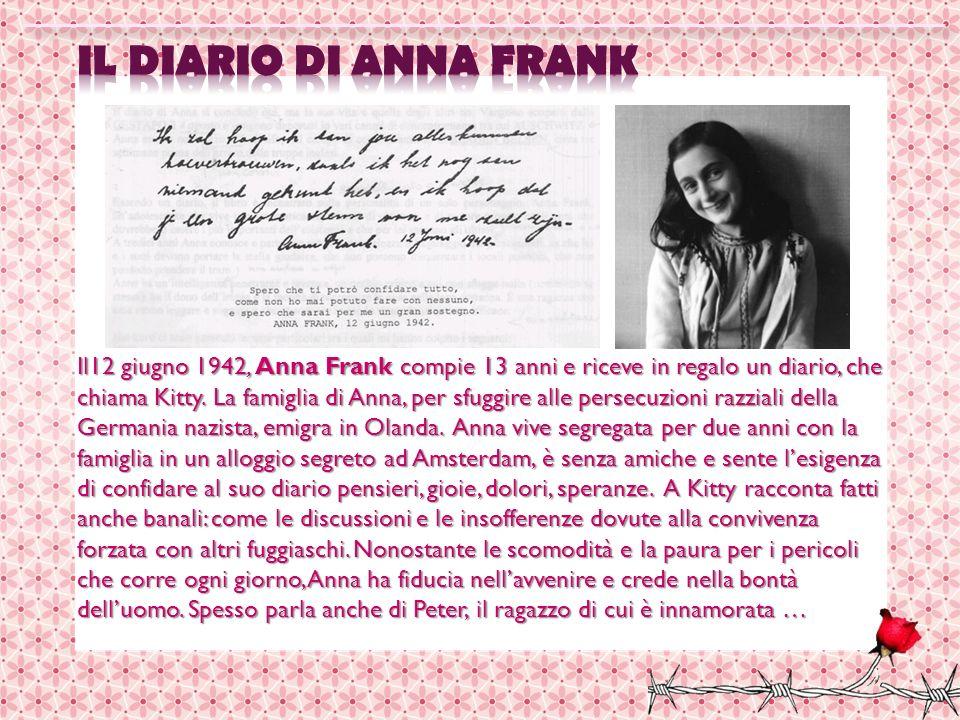 Il12 giugno 1942, Anna Frank compie 13 anni e riceve in regalo un diario, che chiama Kitty. La famiglia di Anna, per sfuggire alle persecuzioni razzia