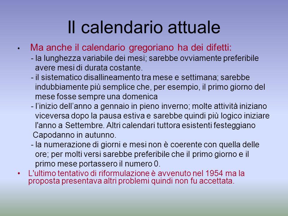 Il calendario attuale Ma anche il calendario gregoriano ha dei difetti: - la lunghezza variabile dei mesi; sarebbe ovviamente preferibile avere mesi d