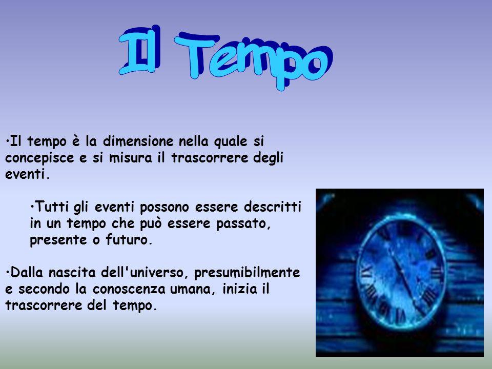 Il tempo è la dimensione nella quale si concepisce e si misura il trascorrere degli eventi. Tutti gli eventi possono essere descritti in un tempo che