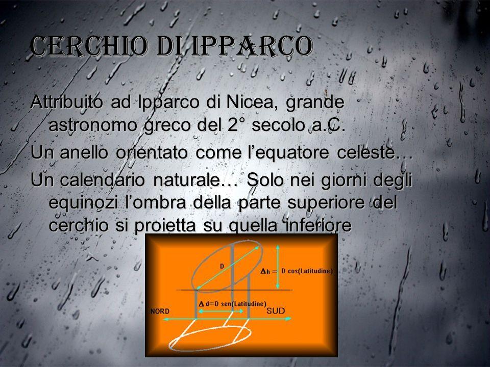Cerchio di Ipparco Attribuito ad Ipparco di Nicea, grande astronomo greco del 2° secolo a.C. Un anello orientato come lequatore celeste… Un calendario
