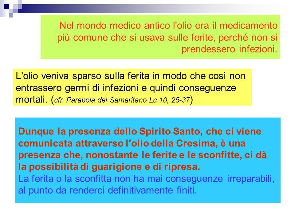 Per la Cresima ha scelto l'olio, perché l'olio in se stesso e nell'uso comune della gente esprime esattamente ciò che Dio vuole operare in noi attrave