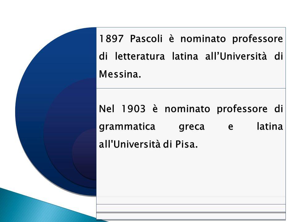 1897 Pascoli è nominato professore di letteratura latina allUniversità di Messina. Nel 1903 è nominato professore di grammatica greca e latina all'Uni