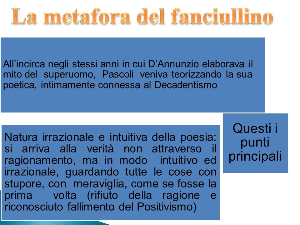 Allincirca negli stessi anni in cui DAnnunzio elaborava il mito del superuomo, Pascoli veniva teorizzando la sua poetica, intimamente connessa al Deca