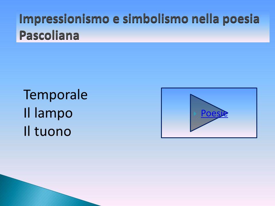 Impressionismo e simbolismo nella poesia Pascoliana Poesie Temporale Il lampo Il tuono
