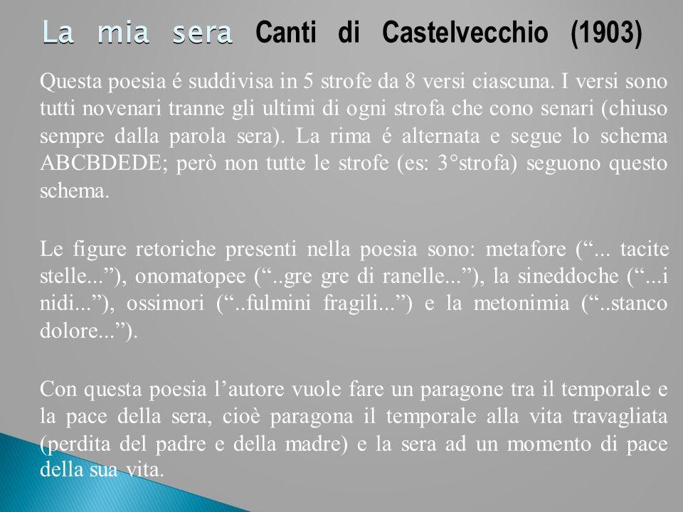 La mia sera La mia sera Canti di Castelvecchio (1903) Questa poesia é suddivisa in 5 strofe da 8 versi ciascuna. I versi sono tutti novenari tranne gl