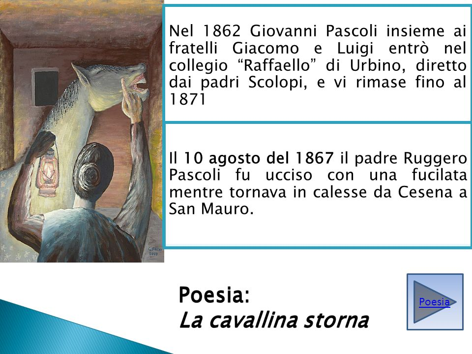 Nel 1862 Giovanni Pascoli insieme ai fratelli Giacomo e Luigi entrò nel collegio Raffaello di Urbino, diretto dai padri Scolopi, e vi rimase fino al 1