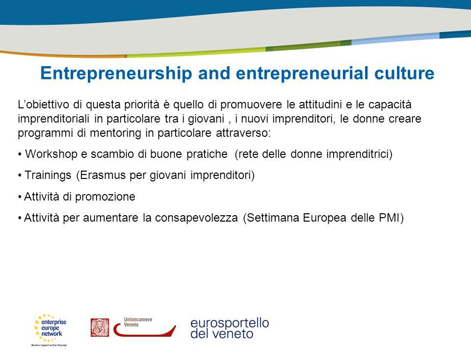 Entrepreneurship and entrepreneurial culture Lobiettivo di questa priorità è quello di promuovere le attitudini e le capacità imprenditoriali in parti