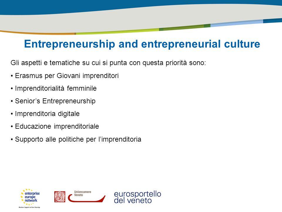 Entrepreneurship and entrepreneurial culture Gli aspetti e tematiche su cui si punta con questa priorità sono: Erasmus per Giovani imprenditori Impren
