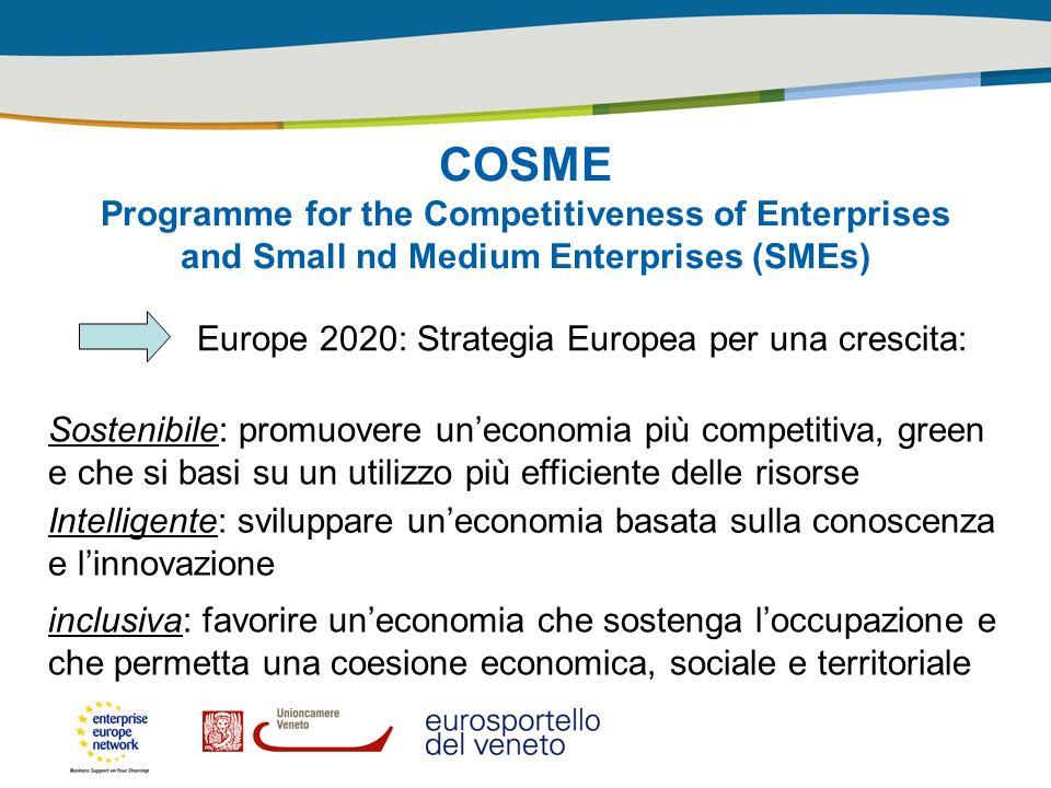 COSME Programme for the Competitiveness of Enterprises and Small nd Medium Enterprises (SMEs) Europe 2020: Strategia Europea per una crescita: Sosteni