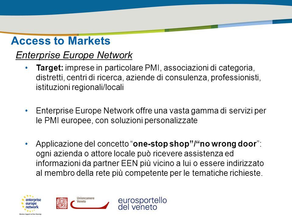 Access to Markets Enterprise Europe Network Target: imprese in particolare PMI, associazioni di categoria, distretti, centri di ricerca, aziende di co