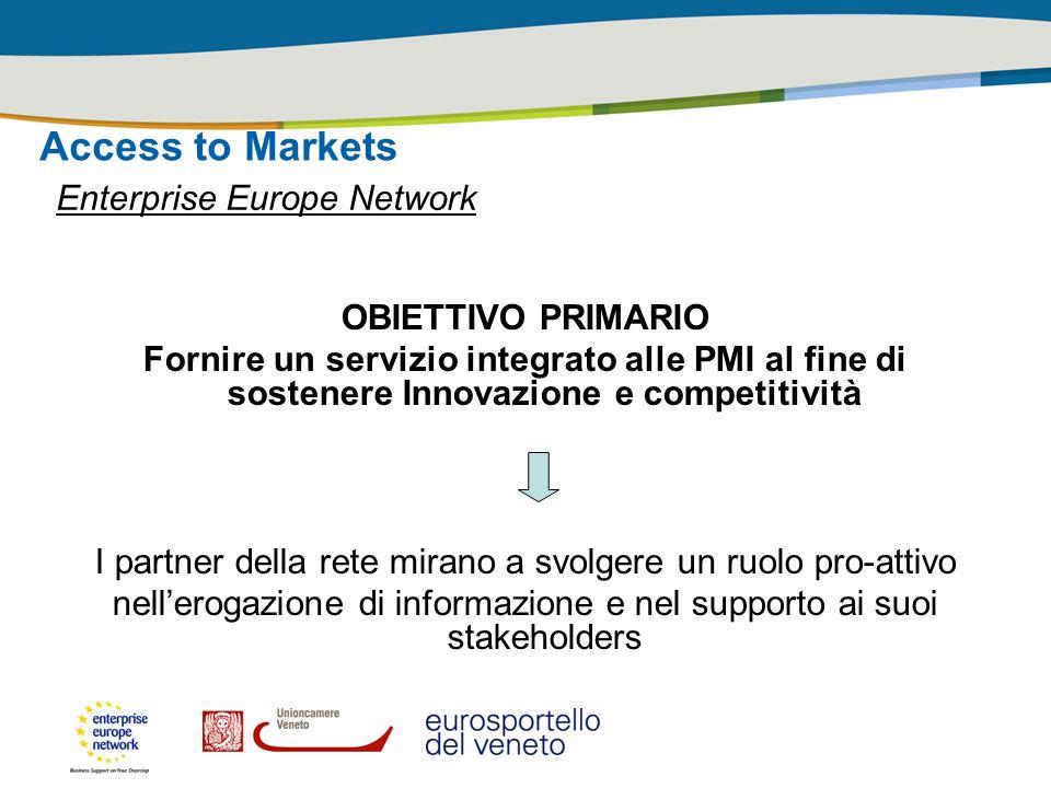 Access to Markets Enterprise Europe Network OBIETTIVO PRIMARIO Fornire un servizio integrato alle PMI al fine di sostenere Innovazione e competitività