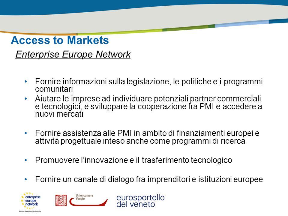 Access to Markets Enterprise Europe Network Fornire informazioni sulla legislazione, le politiche e i programmi comunitari Aiutare le imprese ad indiv