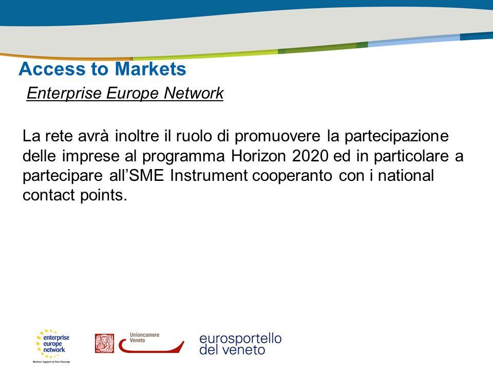 Access to Markets Enterprise Europe Network La rete avrà inoltre il ruolo di promuovere la partecipazione delle imprese al programma Horizon 2020 ed i