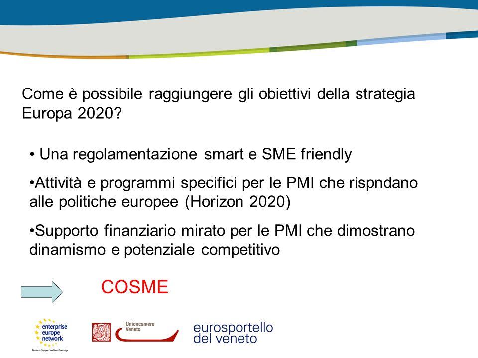 Come è possibile raggiungere gli obiettivi della strategia Europa 2020? Una regolamentazione smart e SME friendly Attività e programmi specifici per l