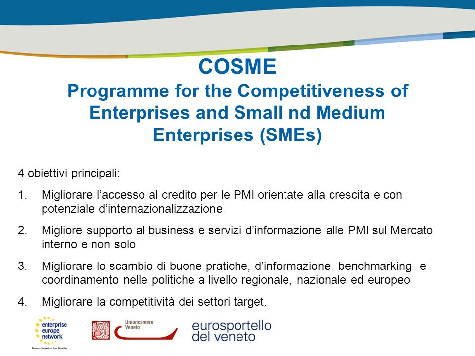 COSME Programme for the Competitiveness of Enterprises and Small nd Medium Enterprises (SMEs) 4 obiettivi principali: 1.Migliorare laccesso al credito