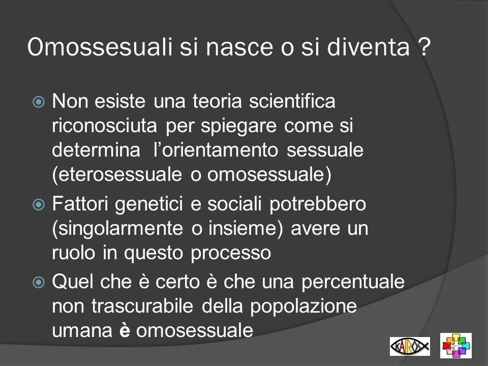 Omossesuali si nasce o si diventa ? Non esiste una teoria scientifica riconosciuta per spiegare come si determina lorientamento sessuale (eterosessual