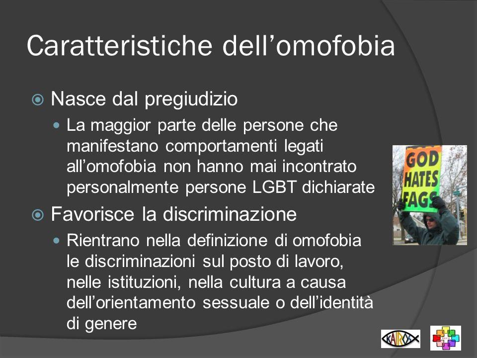 Caratteristiche dellomofobia Nasce dal pregiudizio La maggior parte delle persone che manifestano comportamenti legati allomofobia non hanno mai incon