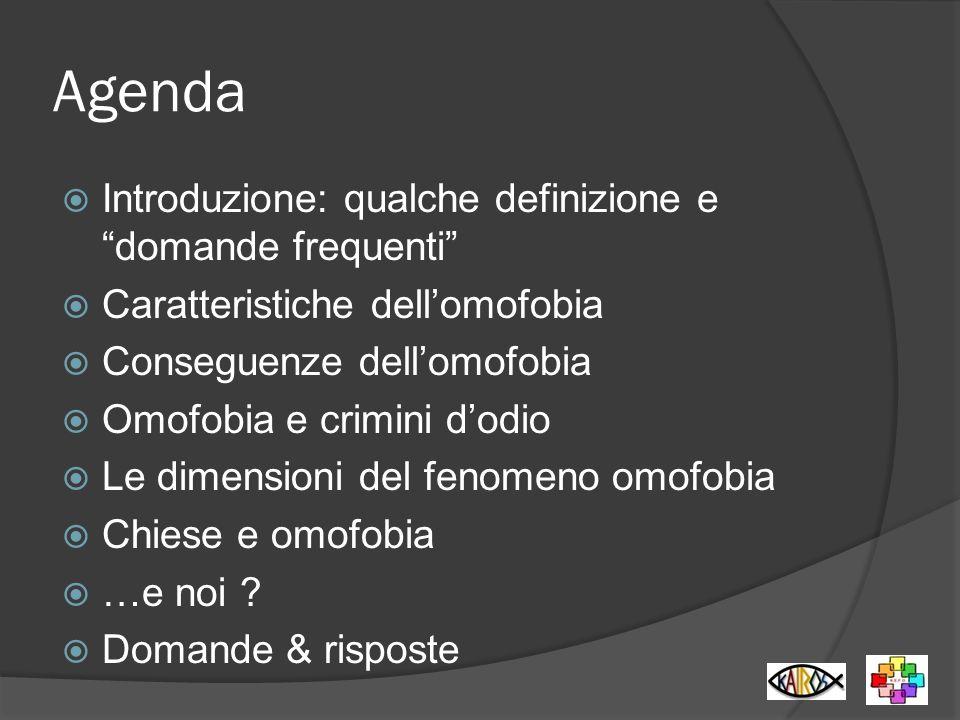Agenda Introduzione: qualche definizione e domande frequenti Caratteristiche dellomofobia Conseguenze dellomofobia Omofobia e crimini dodio Le dimensi