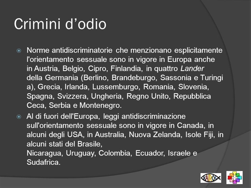 Crimini dodio Norme antidiscriminatorie che menzionano esplicitamente l'orientamento sessuale sono in vigore in Europa anche in Austria, Belgio, Cipro