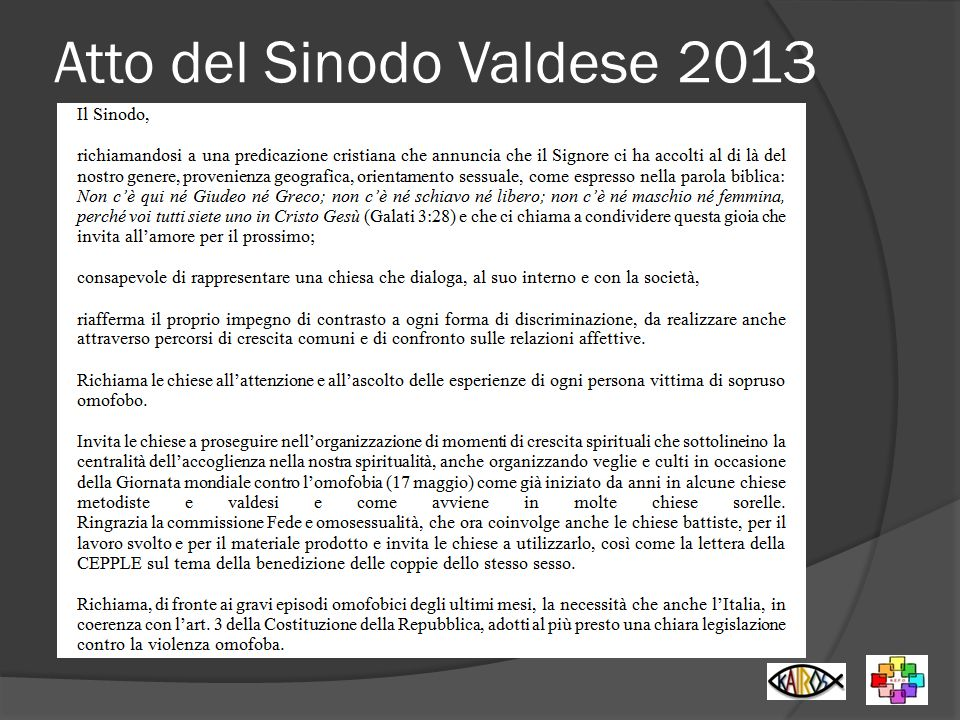 Atto del Sinodo Valdese 2013