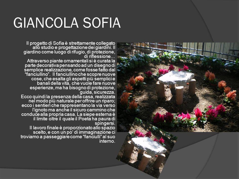 GIANCOLA SOFIA Il progetto di Sofia è strettamente collegato allo studio e progettazione dei giardini. Il giardino come luogo di rifugio, di protezion