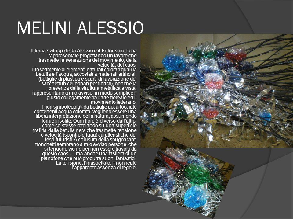 MELINI ALESSIO Il tema sviluppato da Alessio è il Futurismo: lo ha rappresentato progettando un lavoro che trasmette la sensazione del movimento, della velocità, del caos.
