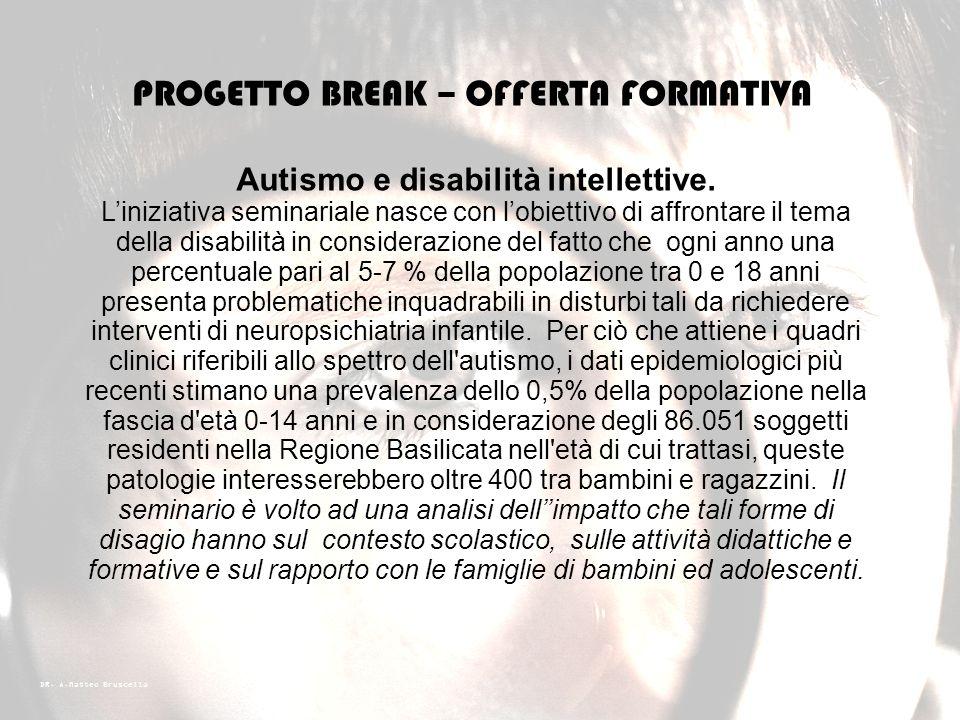 DR. A.Matteo Bruscella PROGETTO BREAK – OFFERTA FORMATIVA Bisogni educativi individualizzati (BES) e progettazione di interventi educativi. Liniziativ