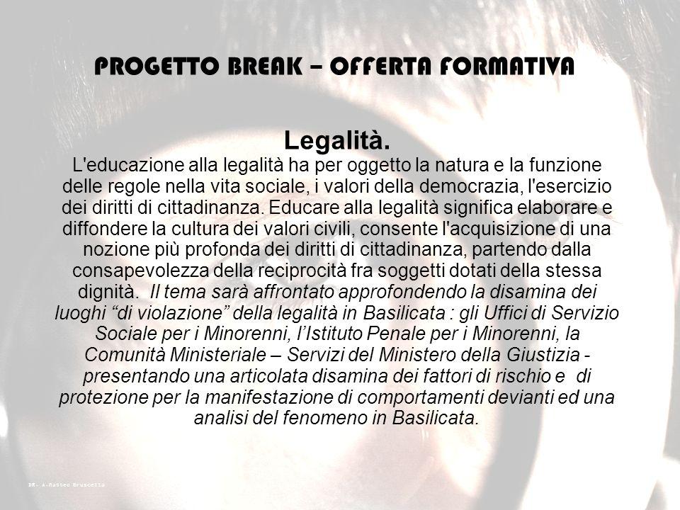 DR. A.Matteo Bruscella PROGETTO BREAK – OFFERTA FORMATIVA Violenza e bullismo. Il bullismo è una forma di comportamento violento attuato tramite l'imp
