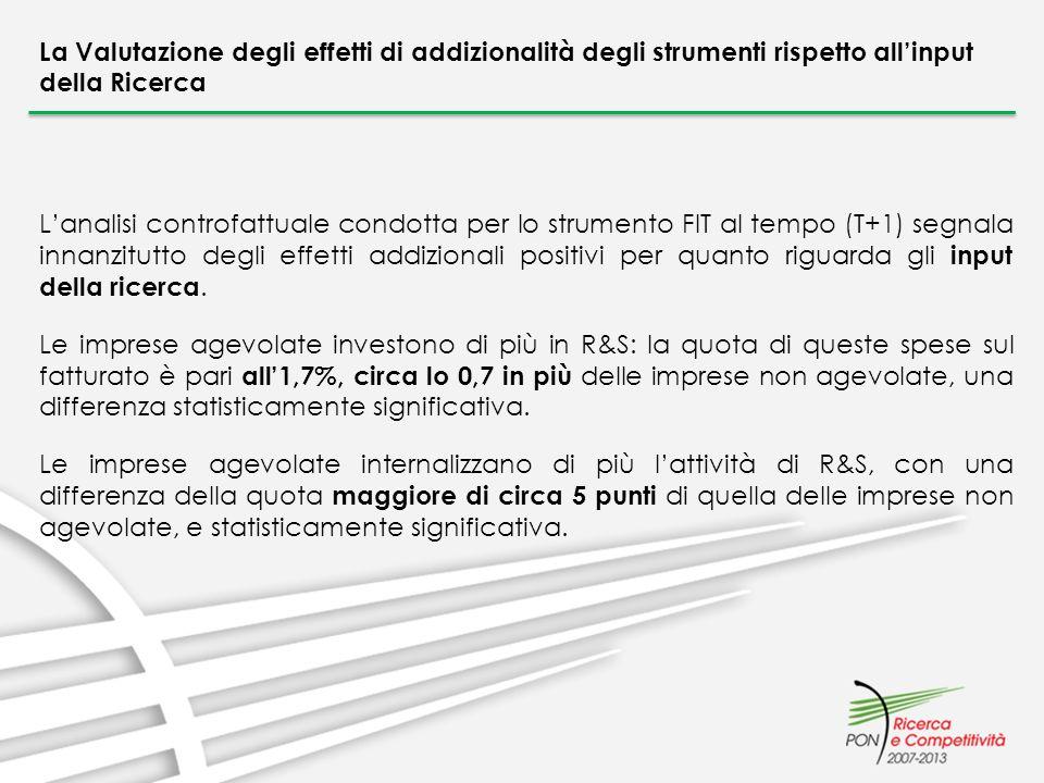 La Valutazione degli effetti di addizionalità degli strumenti rispetto allinput della Ricerca Lanalisi controfattuale condotta per lo strumento FIT al