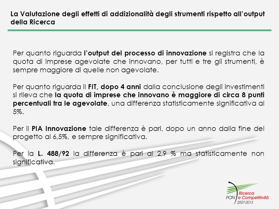 La Valutazione degli effetti di addizionalità degli strumenti rispetto alloutput della Ricerca Per quanto riguarda loutput del processo di innovazione