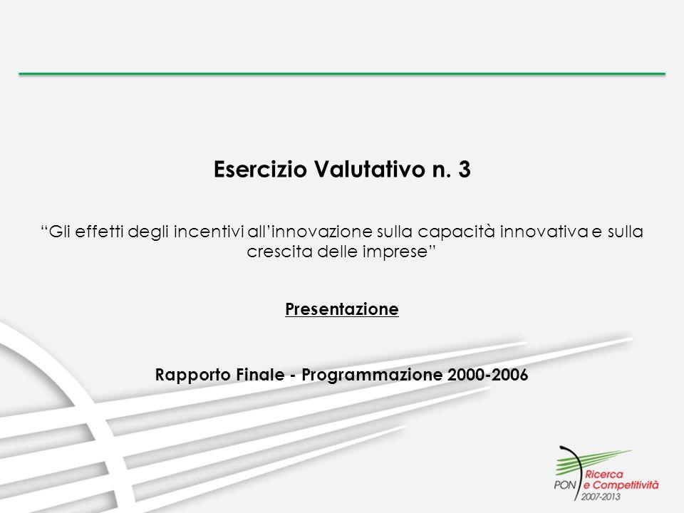 Esercizio Valutativo n. 3 Gli effetti degli incentivi allinnovazione sulla capacità innovativa e sulla crescita delle imprese Presentazione Rapporto F