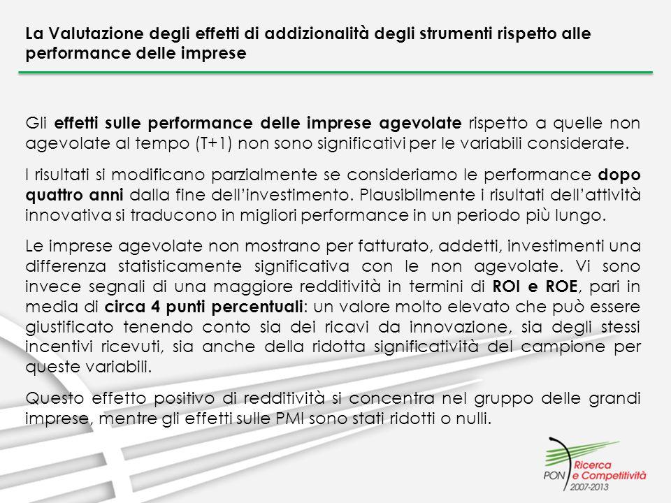 La Valutazione degli effetti di addizionalità degli strumenti rispetto alle performance delle imprese Gli effetti sulle performance delle imprese agev
