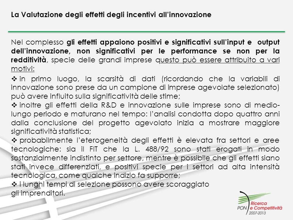 La Valutazione degli effetti degli incentivi allinnovazione Nel complesso gli effetti appaiono positivi e significativi sullinput e output dellinnovaz