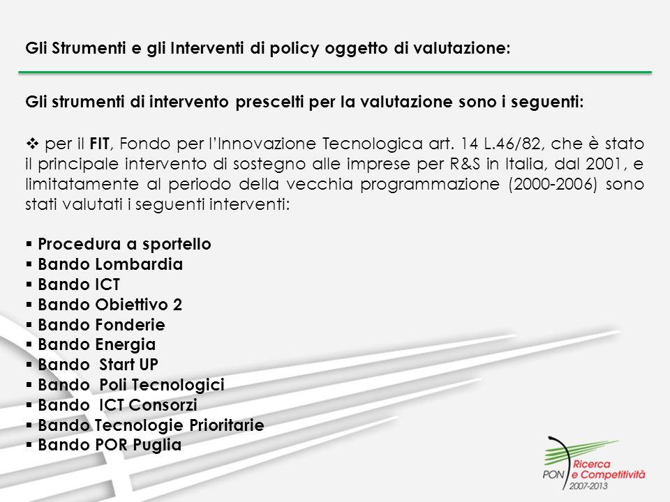 Gli strumenti di intervento prescelti per la valutazione sono i seguenti: per il FIT, Fondo per lInnovazione Tecnologica art. 14 L.46/82, che è stato