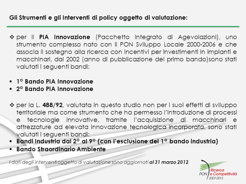 per il PIA Innovazione (Pacchetto Integrato di Agevolazioni), uno strumento complesso nato con il PON Sviluppo Locale 2000-2006 e che associa il soste